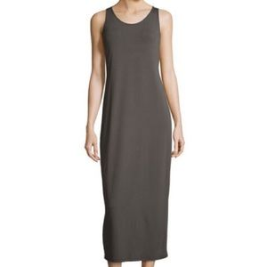Eileen Fisher Gray Crepe Tank Maxi Dress